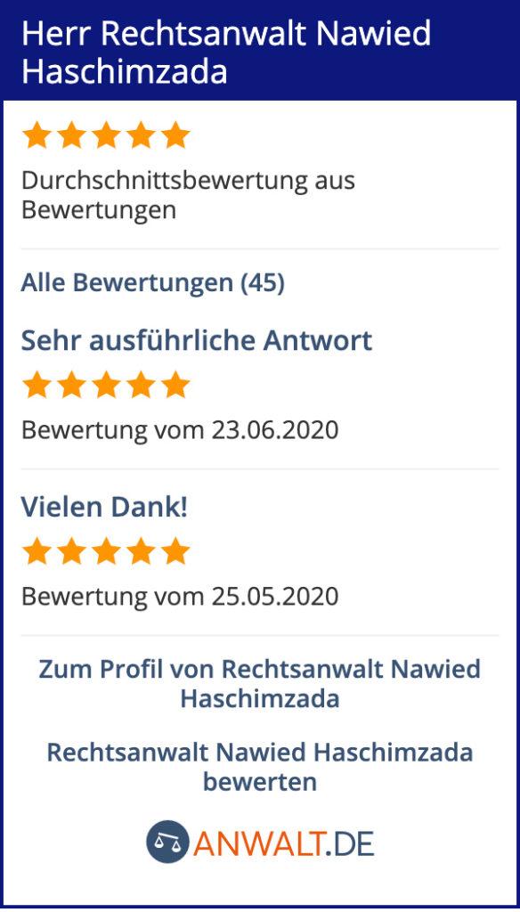 Rechtsanwalt Nawied Haschimzada anwalt.de, Bewertungen, Strafrecht